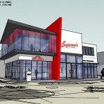 contemporary supermacs drive through restaurant design