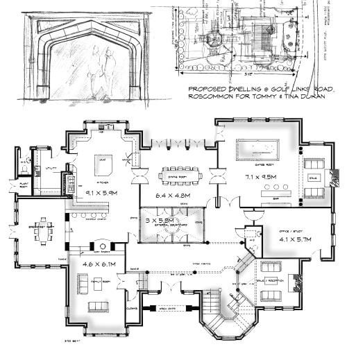 Attractive Layout Plans To Proposed 5000sq.ft House Design At Roscommon