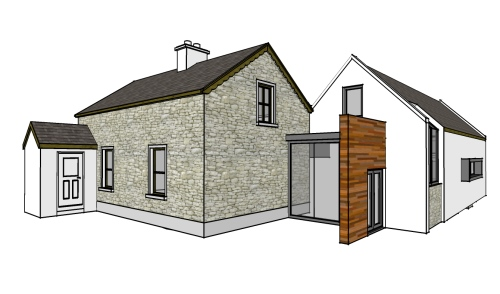 vernacular circular house extension with internal court architectural designs by architect athlone - Home Extension Designs