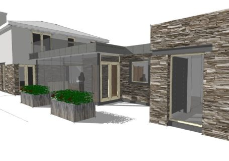 architects visualisation showing single storey contemporary glazed extension to existing building and use of natural stone to facade
