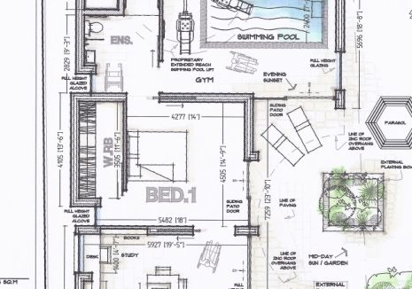 architects sketch design layout showing access to outside area from downstairs master suite and internal hydrotherapy swimming pool