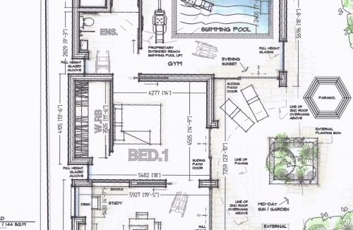 disabled access dwelling house conversion and extension with hydrotherapy pool design access lift and private balcony for wheelchair bound client