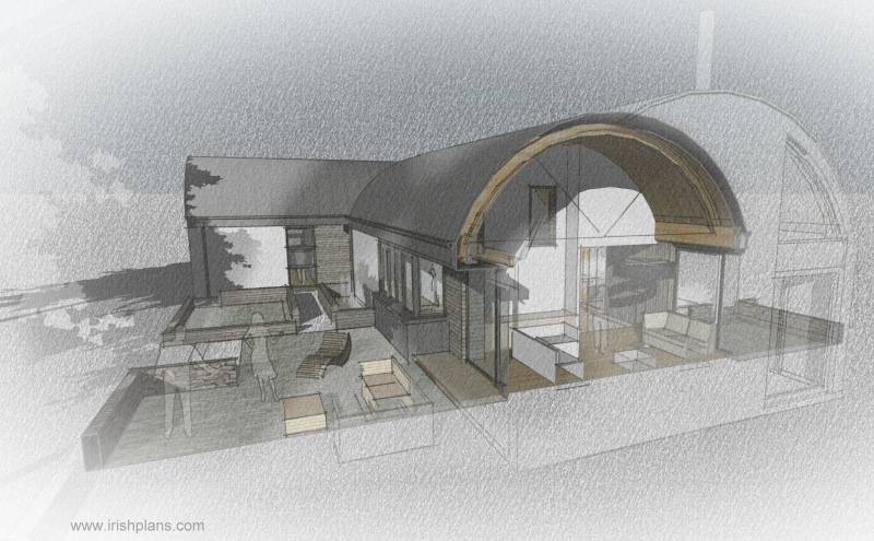 barn-style-dwelling-house-with-barrel-roof-curve-elevation-orthographic-projection-vaulted-ceiling